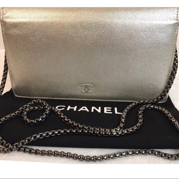 CHANEL Handbags - Authentic Chanel Silver Caviar Leather Long Wallet